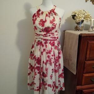 Size 4 Evan Picone red floral elegant dress